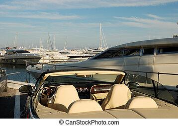 港, 自動車, ヨット, 贅沢, marbella, スペイン