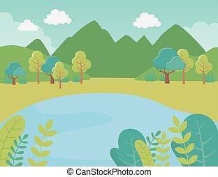 湖, 山, 群葉, 風景, 草木の栽培場, 自然, 木, 薮, イメージ