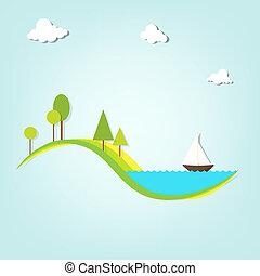 湖, 木, 船, 風景