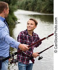 湖, 父, 釣り, 息子, 一緒に