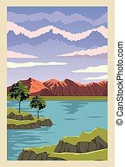 湖, 現場, 風景, 美しい