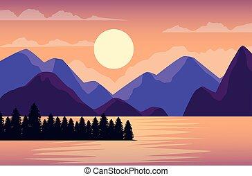 湖, 現場, 風景, 美しい, 山