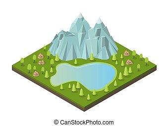 湖, 等大, 木。, 山