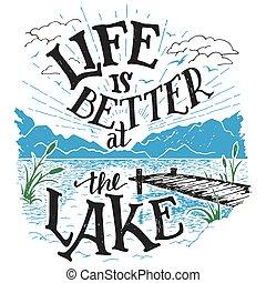 湖, hand-lettering, よりよい, 印, 生活