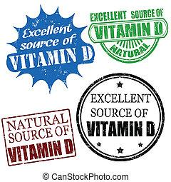 源, スタンプ, 優秀である, d, ビタミン