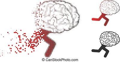 溶ける, halftone, 脳, 動くこと, 点, アイコン