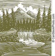 滝, 木版, 荒野