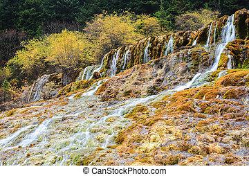 滝, huanglong, 秋
