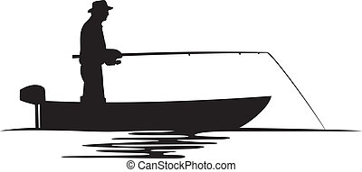 漁師, シルエット, ボート