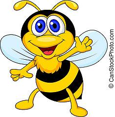 漫画, かわいい, 振ること, 蜂