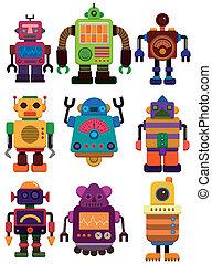 漫画, アイコン, ロボット, 色