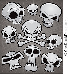 漫画, コレクション, 頭骨