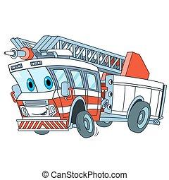 漫画, トラック, 火