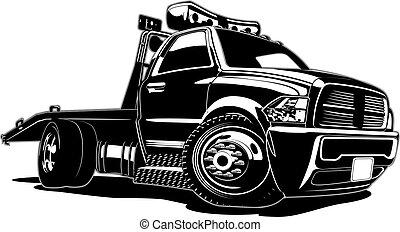 漫画, トラック, 牽引