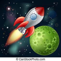 漫画, ロケット, スペース
