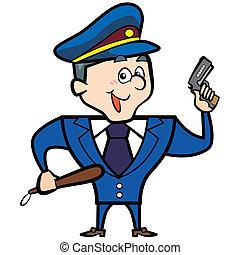 漫画, 人, 警察, 銃, 士官