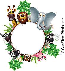 漫画, 動物, コレクション, かわいい