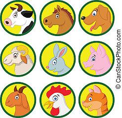 漫画, 動物, コレクション, 農場