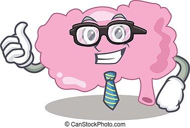 漫画, 図画, 脳, めがねをかける, タイ, ビジネスマン