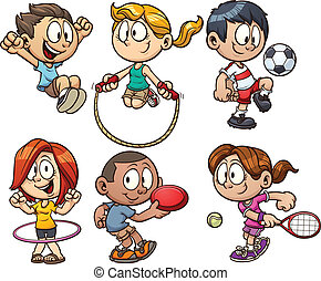 漫画, 子供, 遊び