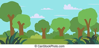 漫画, 牧草地, 青, 草, 森林, 光景, 木, 風景, ベクトル, forest., 緑のフィールド, illustration., 自然, sky.