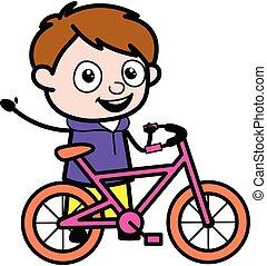 漫画, 男の子, 自転車