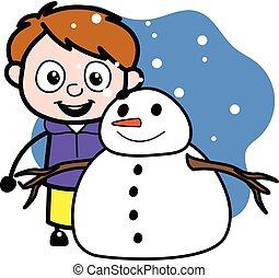 漫画, 男の子, 雪だるま