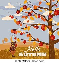 漫画, 秋, horizon., かわいい, こんにちは, ポスター, 傾向, 平ら, スタイル, ベクトル, 風景, パノラマ, ズボン, 季節, イラスト, 隔離された, 熊, 葉書, フルーツ, 収穫, アップル, 旗, 木