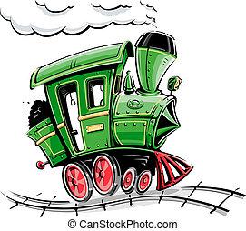 漫画, 緑, 機関車, レトロ