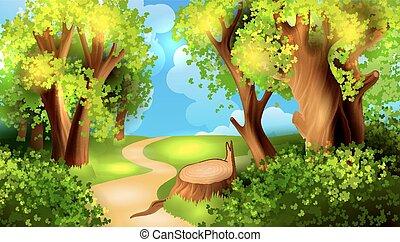 漫画, 背景, 森林