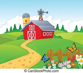 漫画, 背景, 農場