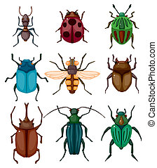 漫画, 虫, アイコン, 昆虫