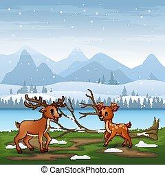 漫画, 風景, 2匹の鹿, 冬, 遊び