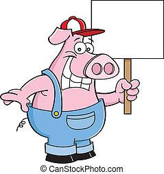 漫画, s, オーバーオール, 保有物, 豚