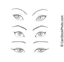 漫画, set., ベクトル, 目