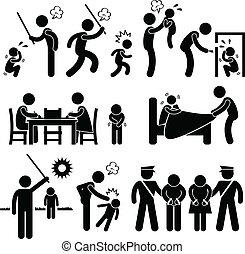 濫用, 子供, 家族, pictogram