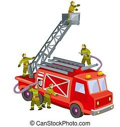 火トラック, 救助, 消防士, 子供, イラスト, 隔離された, 漫画, オブジェクト, 背景, 白, ベクトル