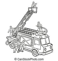 火トラック, 救助, 消防士, 子供, 着色 本, スケッチ, イラスト, 隔離された, 漫画, オブジェクト, 背景, 白, ベクトル