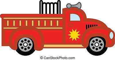 火, おもちゃ, engine., firetruck, 子供