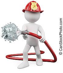 火, から, 3d, パッティング, 消防士