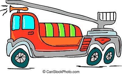 火, イラスト, 手トラック, 背景, 引かれる, 白
