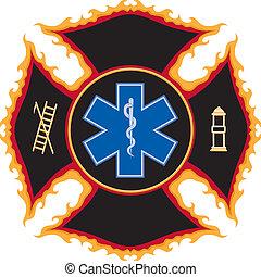 火, シンボル, 燃えている, 救出