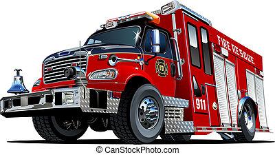 火, ベクトル, トラック, 漫画