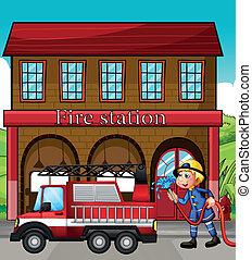 火, 前部, 駅, トラック, 消防士