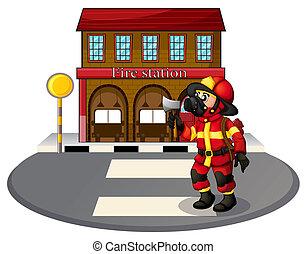 火, 前部, 駅, 消防士