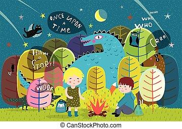 火, 子供, 森林, キャンプ, ドラゴン