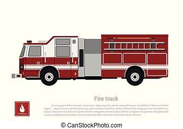 火, 平ら, スタイル, トラック, 赤