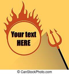 火, 背景, 黄色, trident, 地獄