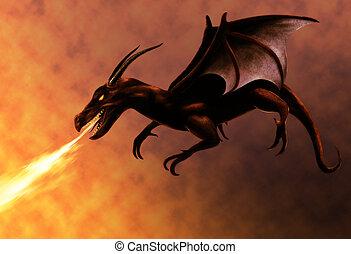 火, 飛行, ドラゴン