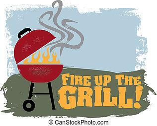 火, grill!, の上, bbq